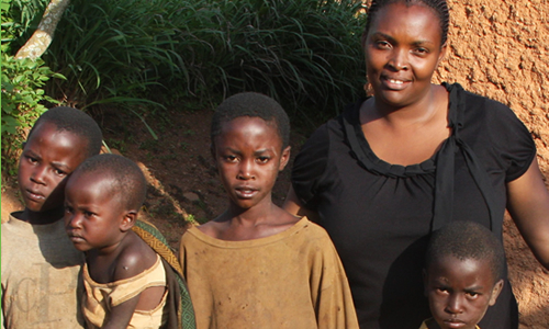Rwandan Social Worker with Children