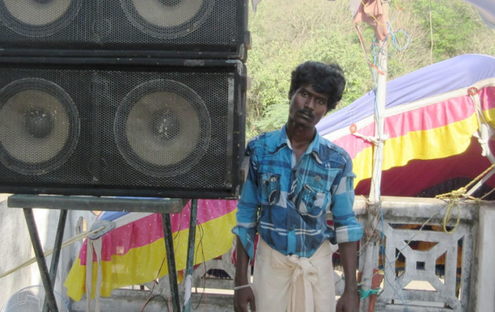Jeenath with his sound system equipment