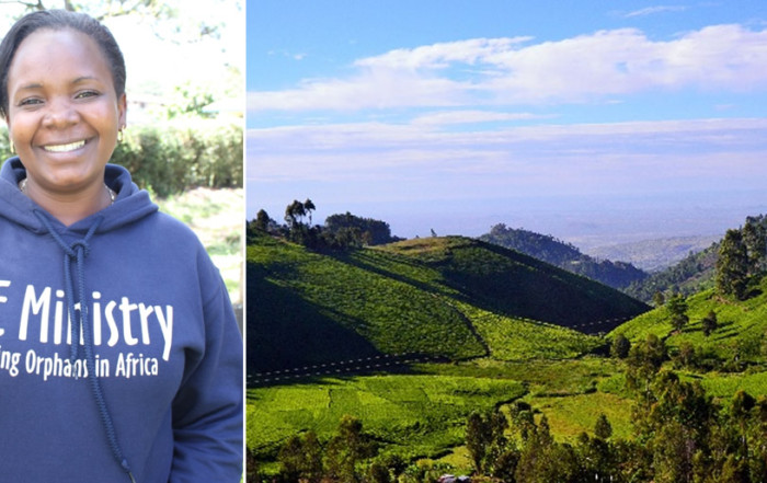 Photo of Carolyne and a view of the mountains of Tharaka