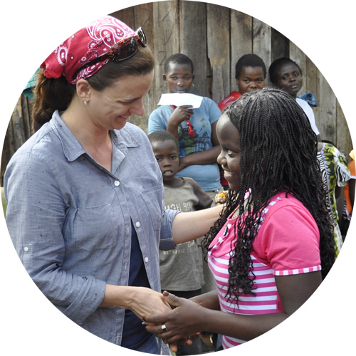 Woman shaking hands with ZOE participant